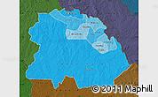 Political Shades Map of Copperbelt, darken