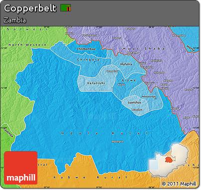 Political Shades Map of Copperbelt