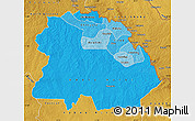 Political Shades Map of Copperbelt, physical outside