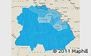 Political Shades Map of Copperbelt, shaded relief outside