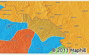 Physical 3D Map of Mufulira, political outside