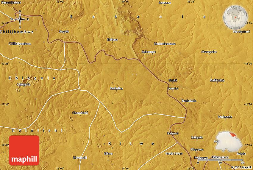 Physical Map of Mufulira