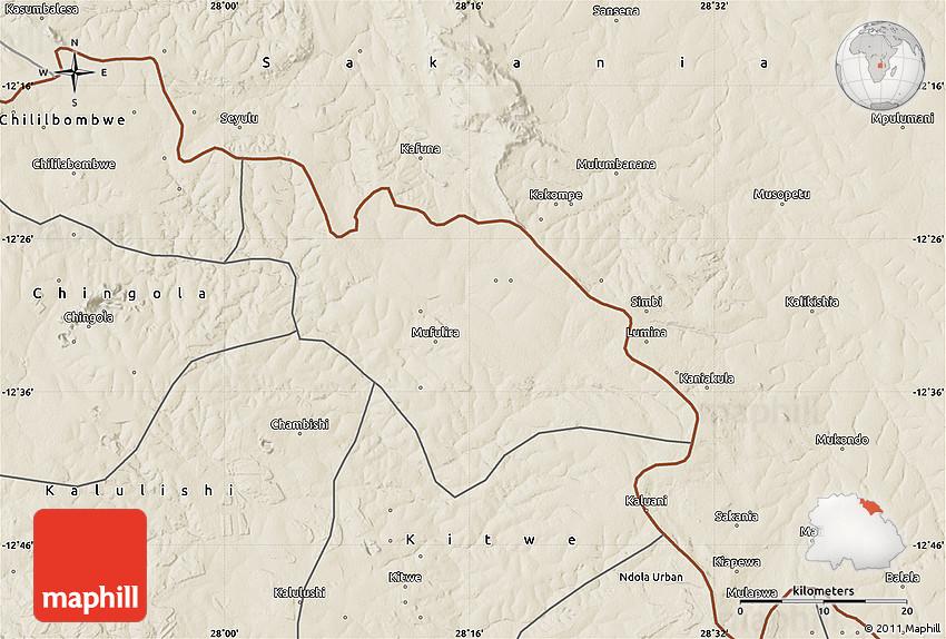 Shaded Relief Map of Mufulira
