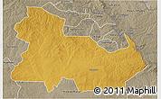 Physical 3D Map of Ndola Rural, semi-desaturated