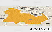 Political Panoramic Map of Ndola Rural, shaded relief outside