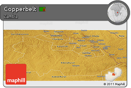 Physical Panoramic Map of Copperbelt