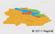 Political Panoramic Map of Copperbelt, cropped outside