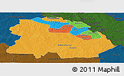 Political Panoramic Map of Copperbelt, darken