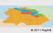 Political Panoramic Map of Copperbelt, lighten
