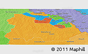 Political Panoramic Map of Copperbelt, political shades outside
