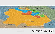 Political Panoramic Map of Copperbelt, semi-desaturated