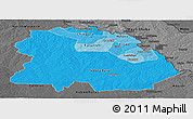 Political Shades Panoramic Map of Copperbelt, darken, desaturated