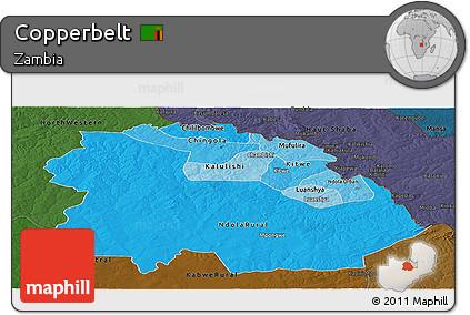 Political Shades Panoramic Map of Copperbelt, darken