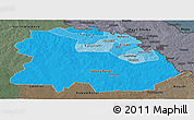 Political Shades Panoramic Map of Copperbelt, darken, semi-desaturated