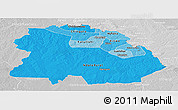 Political Shades Panoramic Map of Copperbelt, lighten, desaturated