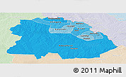 Political Shades Panoramic Map of Copperbelt, lighten