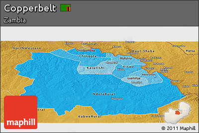 Political Shades Panoramic Map of Copperbelt, physical outside