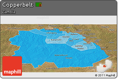 Political Shades Panoramic Map of Copperbelt, satellite outside