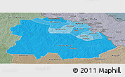 Political Shades Panoramic Map of Copperbelt, semi-desaturated