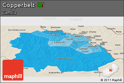 Political Shades Panoramic Map of Copperbelt, shaded relief outside