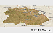 Satellite Panoramic Map of Copperbelt, shaded relief outside