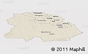 Shaded Relief Panoramic Map of Copperbelt, cropped outside