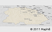 Shaded Relief Panoramic Map of Copperbelt, desaturated