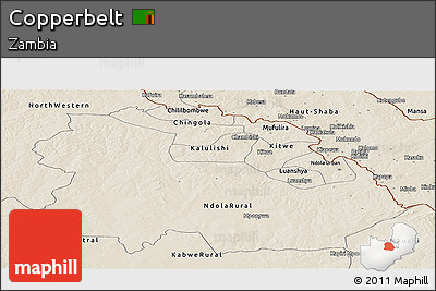 Shaded Relief Panoramic Map of Copperbelt
