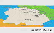 Shaded Relief Panoramic Map of Copperbelt, political outside