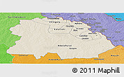 Shaded Relief Panoramic Map of Copperbelt, political shades outside