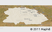 Shaded Relief Panoramic Map of Copperbelt, satellite outside