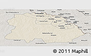 Shaded Relief Panoramic Map of Copperbelt, semi-desaturated