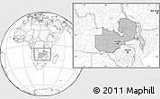 Gray Location Map of Zambia, blank outside