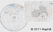 Gray Location Map of Zambia, lighten, desaturated