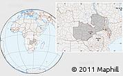 Gray Location Map of Zambia, lighten