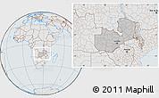 Gray Location Map of Zambia, lighten, semi-desaturated