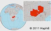 Gray Location Map of Zambia