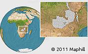 Gray Location Map of Zambia, satellite outside