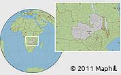 Gray Location Map of Zambia, savanna style outside
