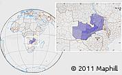 Political Location Map of Zambia, lighten, desaturated