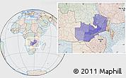 Political Location Map of Zambia, lighten, semi-desaturated