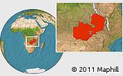 Satellite Location Map of Zambia
