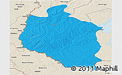 Political Panoramic Map of Mansa, shaded relief outside