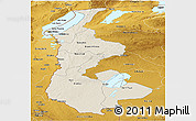 Shaded Relief Panoramic Map of Luapula, physical outside