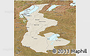 Shaded Relief Panoramic Map of Luapula, satellite outside