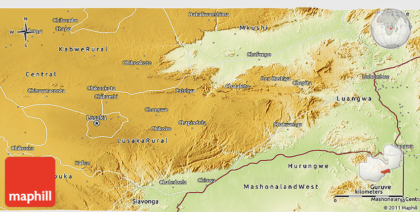 Physical 3D Map of Lusaka