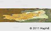 Physical Panoramic Map of Lusaka, darken