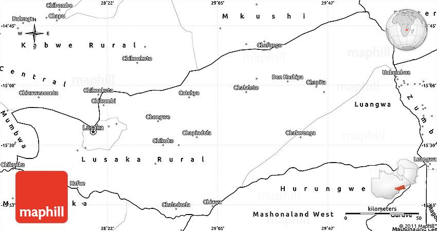 Blank Simple Map of Lusaka