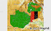 Flag Map of Zambia, physical outside