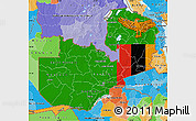 Flag Map of Zambia, political outside